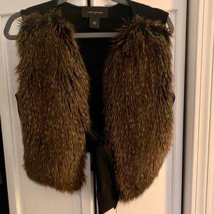 Ann Taylor faux fur tie vest